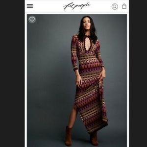 FREE PEOPLE || Colorful Crochet Maxi Dress Sz L